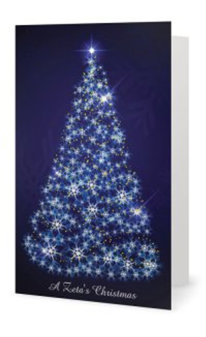 "A Zeta's Christmas FRONT CHRISTMAS TREE - V (5"" x 7"" - all blue) Style may vary."