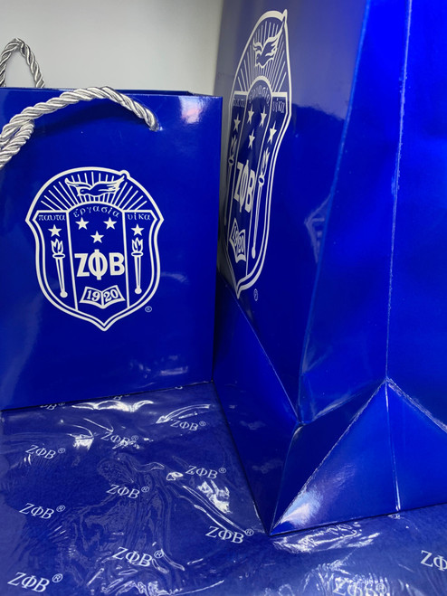 Zeta Phi Beta Gift bags -Large Zeta Gift Bags -  Gift bags - Zeta Phi Beta gifts - Sorority Gift bags - Blue and White Gift bags - Zeta Shield Gift Bags