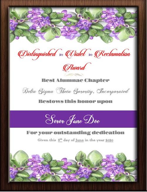 Violet Award - Soror of the Year Award - Delta Award Certificates- Delta Honor Award - Violet Award - Delta Dear Award -Spirit Award - Soror of the Year Award