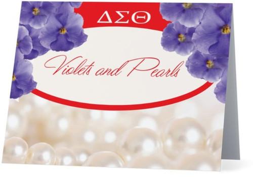 Violets and Pearls Notecards - Delta Symbols  -  Delta Sorority Sisters - Red - Violets - Pearls - Delta Sigma Theta Sorority, Inc. - Note cards - Delta Sigma Theta