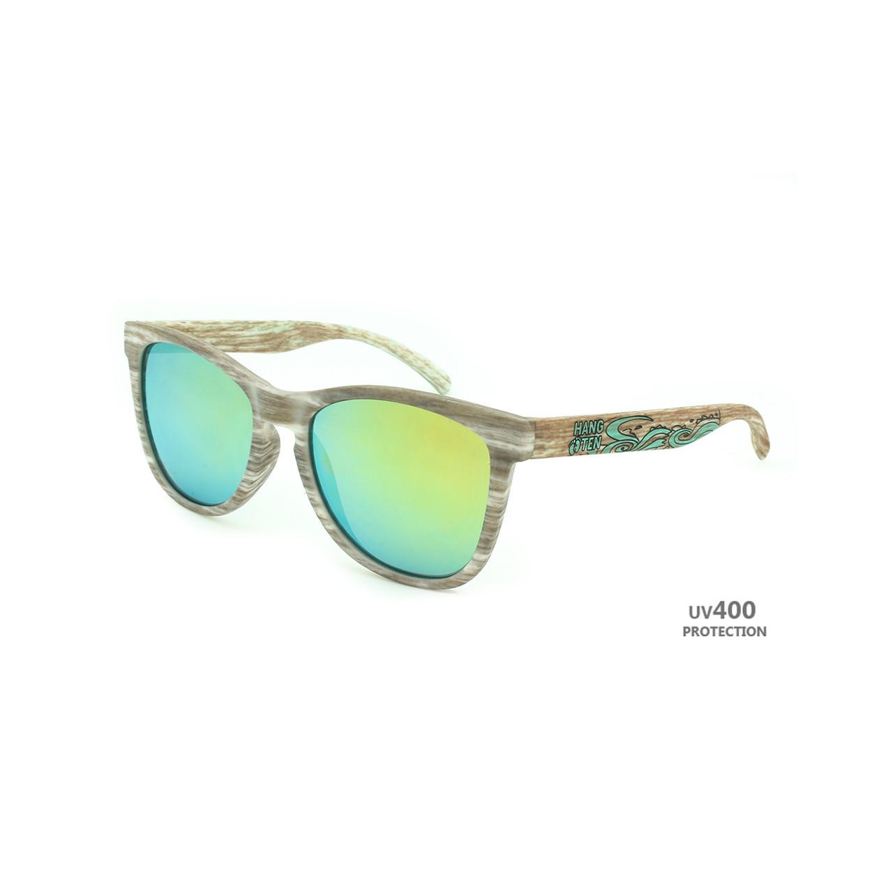 8c59e7ad528 Hangten Kids Sunglasses Dark Grey Wood Grain Frame Yellow Colored Mirror  Lens Brown Wood Look Temple