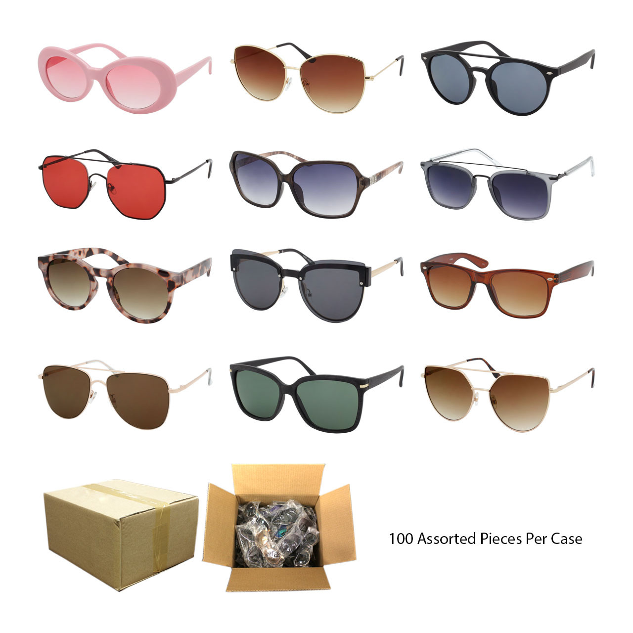 f86fbce57a Wholesale Assorted Colors Plastic Metal UV400 Assorted Style Fashion ...
