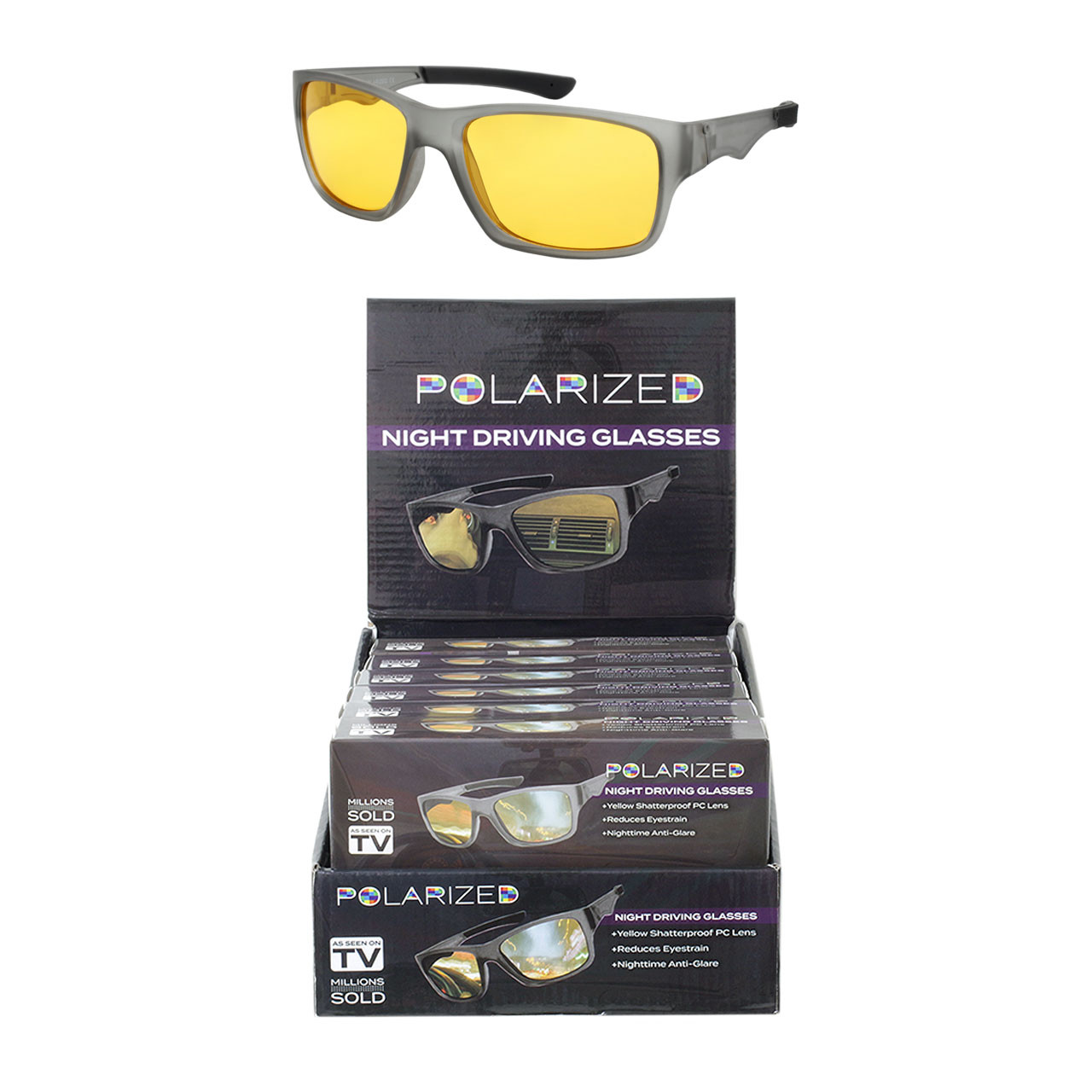 Yellow Lens Night Driving Glasses Wraparound Polycarbonate Matt Grey