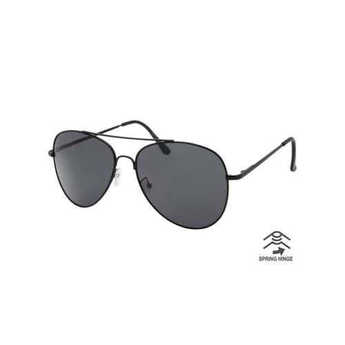 1a770599d9 Wholesale Smoke Color Metal Spring Hinge UV400 Aviator Fashion Sunglasses  Unsiex | 1 Dozen with Tags | 60799LBLK