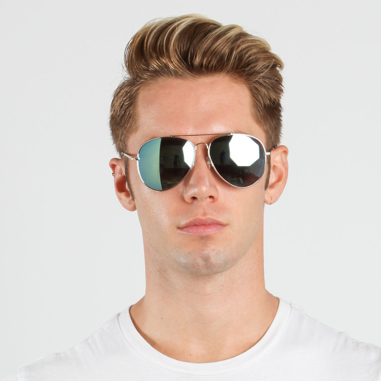 Unisex Large Aviator Spring Hinge Sunglasses
