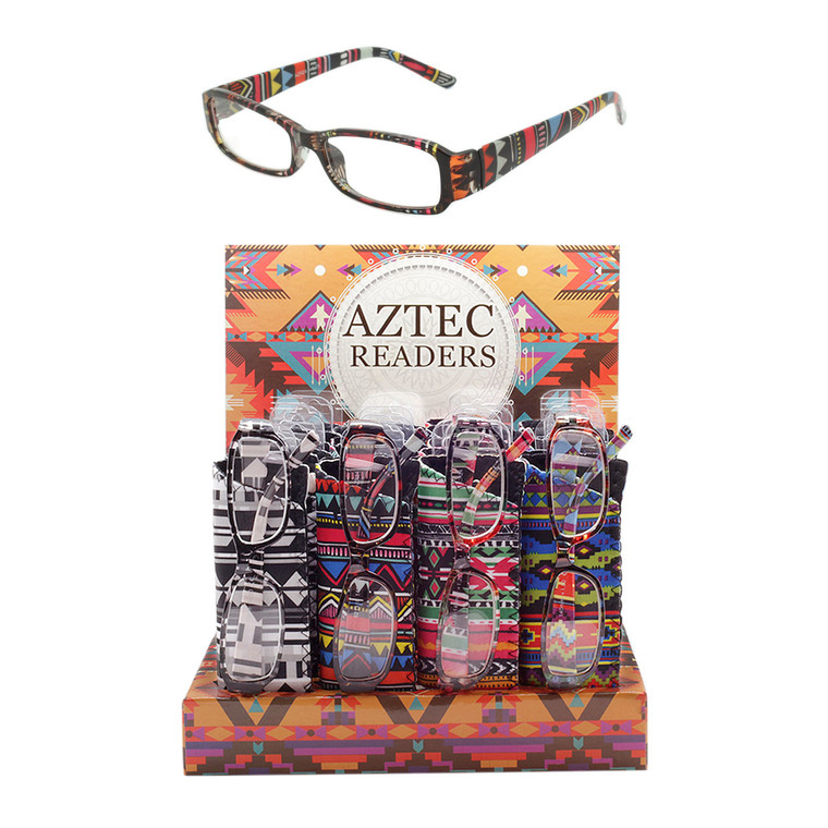 Wholesale  24 Piece Reading Glasses Assorted Color Aztec Patterned with Cases and Cardboard Counter Display Women's Aztec Pattern Readers With Display