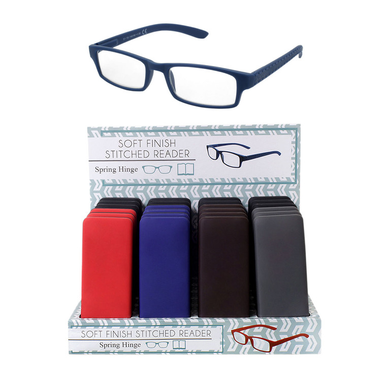 Unisex Soft Finish Stitched Readers With Spring Hinge & Display, & Hard Snap Case