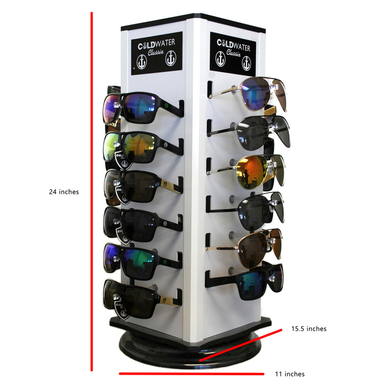 Wholesale Silver Counter Display 24 Pairs Sunglasses with Logo  | 24 PCS LOGO COUNTER DISPLAY