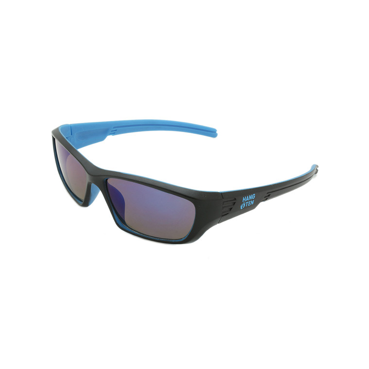 Wholesale Black Blue Plastic Hang Ten Kids Polarized UV400 Sport Wrap Sunglasses Childrens Bulk | HTK05APOL