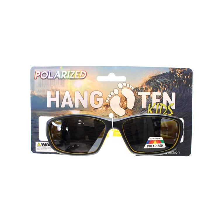 Wholesale Multicolor Plastic Hang Ten Kids Polarized UV400 Sport Wrap Sunglasses with Hang Card Childrens Bulk | HTK05BPOLWC
