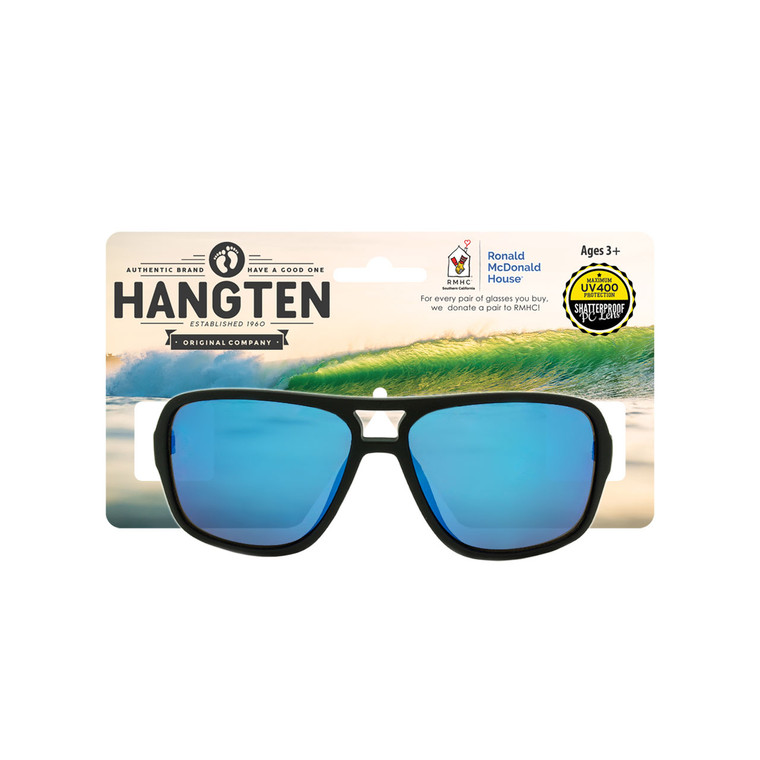 Wholesale Black Polycarbonate Hang Ten Kids UV400 Aviator Sunglasses with Hang Card Childrens | HTK07CWC