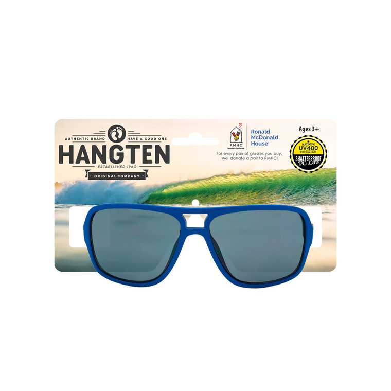 Wholesale Dark Blue Polycarbonate Hang Ten Kids UV400 Aviator Sunglasses with Hang Card Childrens | HTK07DWC