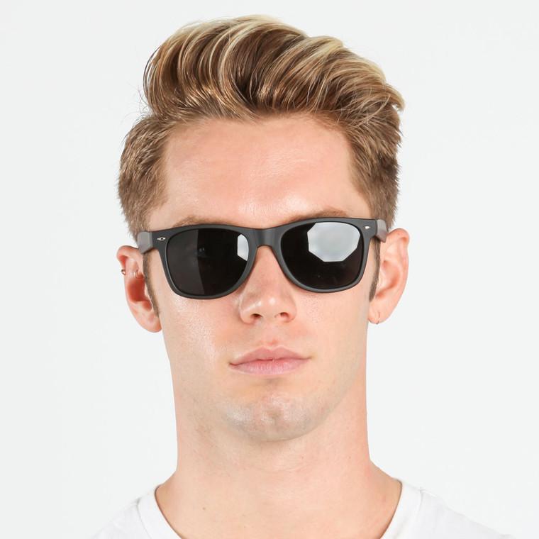 Wholesale Black Polycarbonate Soft Finish UV400 Classic Sunglasses Unisex | 1 Dozen with Tags | W11BLST