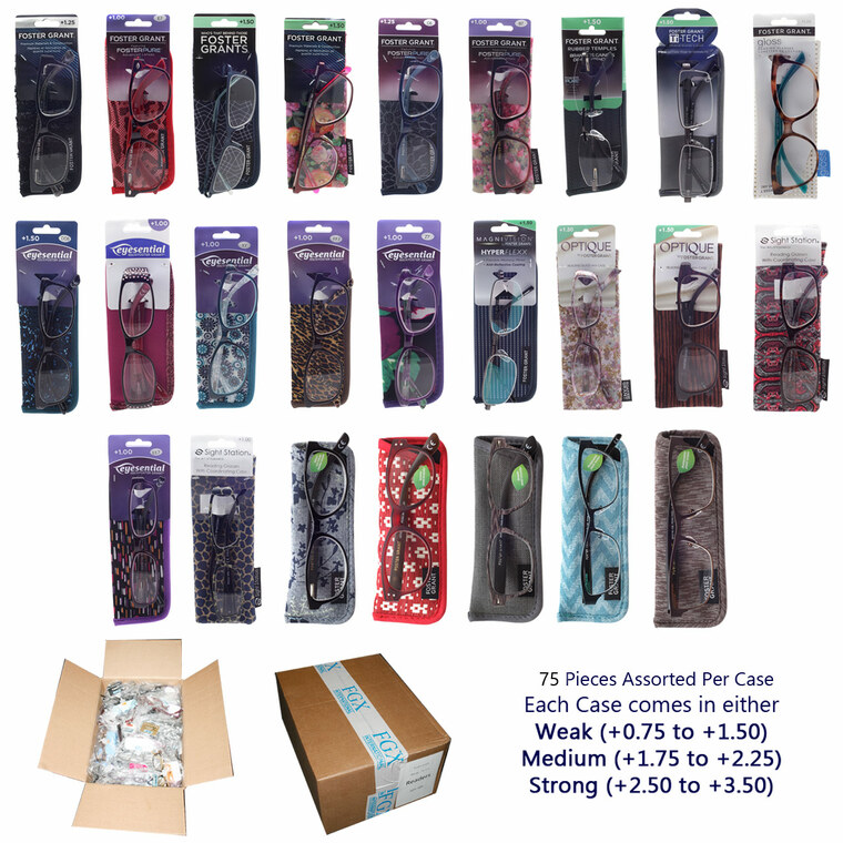 Wholesale Assorted Colors Plastic Metal Assorted Style Readers 75 Pieces Unisex Bulk | FGC-75