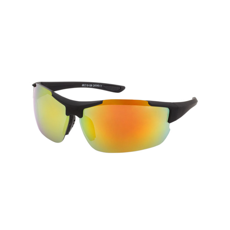 Men's Semi-Rimless Sport Soft Finish Sunglasses
