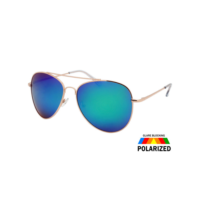 Large Spring Hinge Aviator Polarized Sunglasses