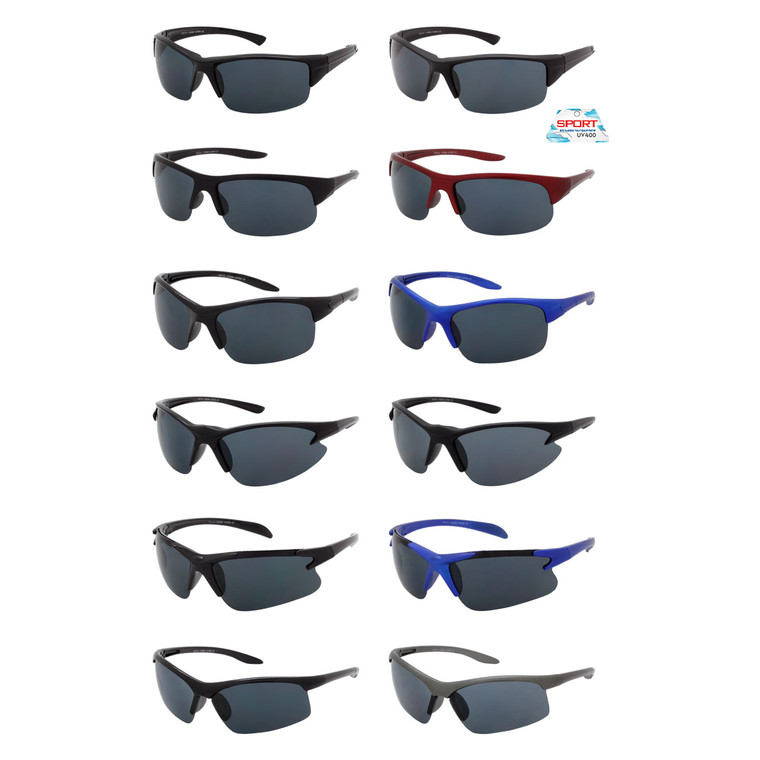 Assorted Wholesale Color Sport Sunglasses | 1 Doz