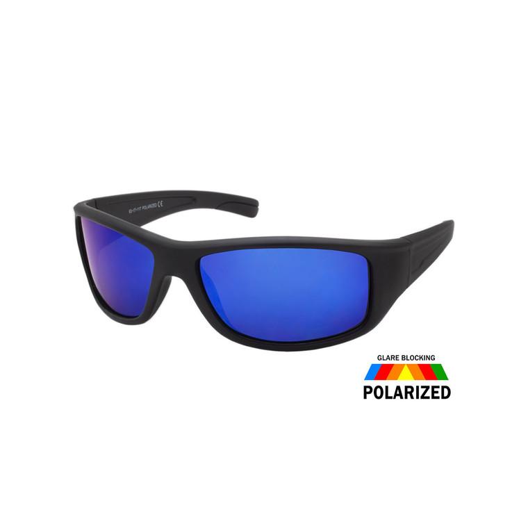 Men's Sport Wrap Colored Mirror Polarized Sunglasses