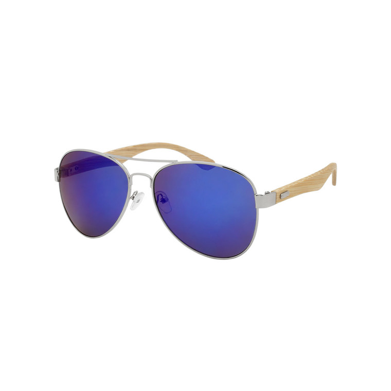 Unisex Aviator Color Mirror Lens Bamboo Temple Sunglasses
