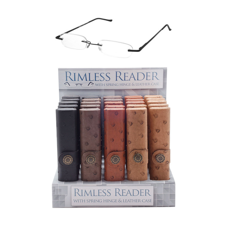 Rimless Spring Hinge Readers Display + Leather Case
