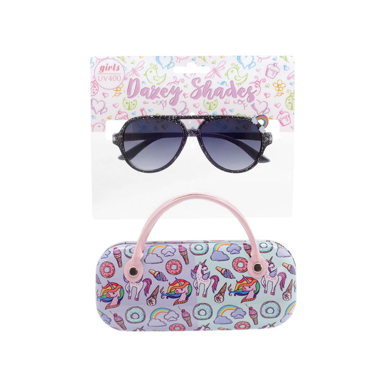 Tween Dazey Shades Glitter Sunglasses + Case Set