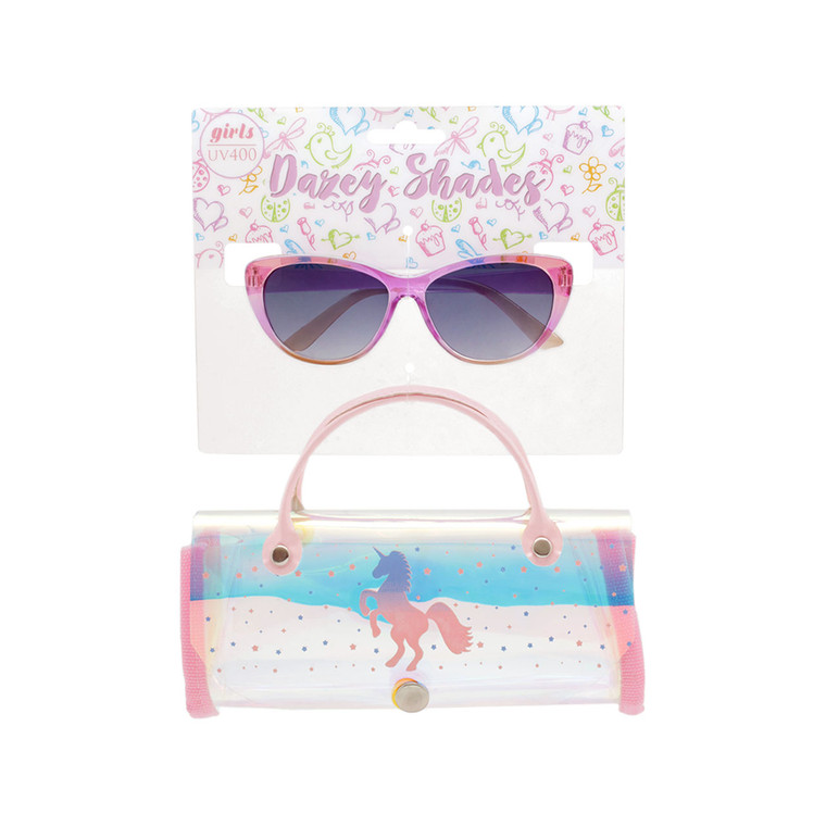 Tween Dazey Shades Crystal Clear Color Sunglasses + Iridescent Unicorn Case Set