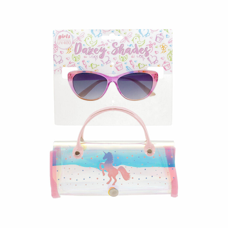 Tween Dazey Shades Crystal Clear Color Sunglasses + Iridescent Unicorn Case Set