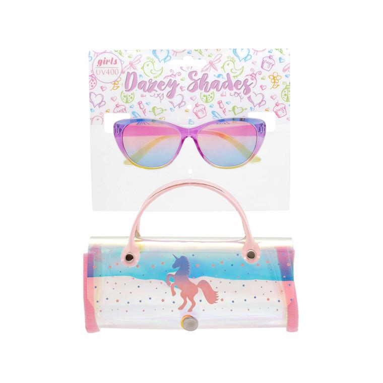 Tween Dazey Shades Ocean Len Sunglasses + Iridescent Unicorn Case Set