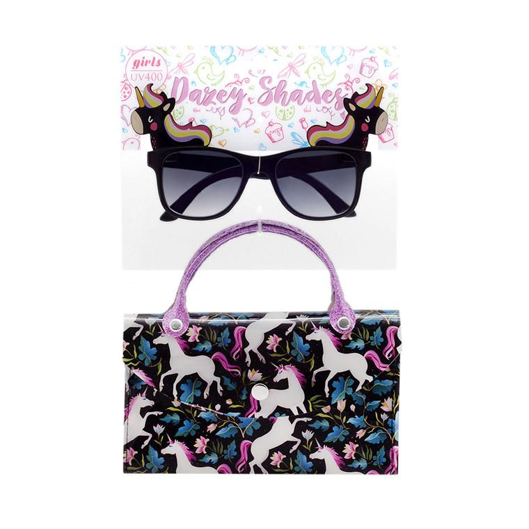 Tween Dazey Shades Black Unicorn Sunglasses + Unicorn Case Set