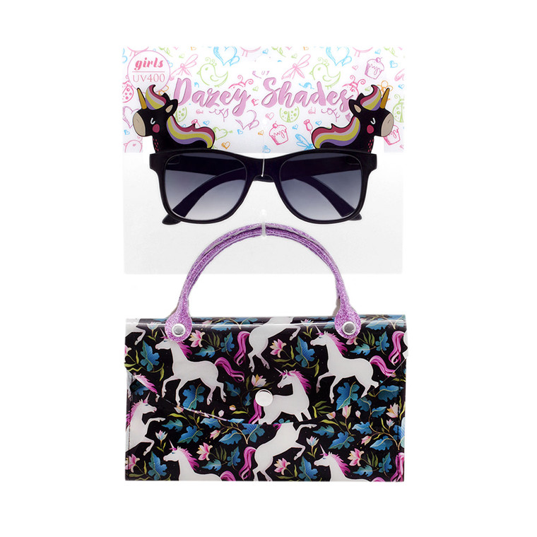 Tween Dazey Shades Black Unicorn Sunglasses + Unicorn Case Set