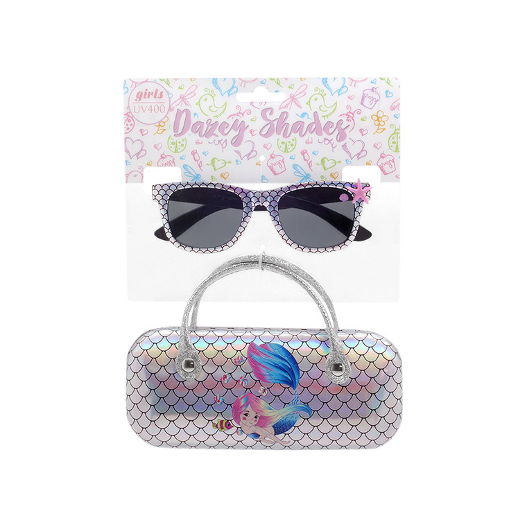 Tween Dazey Shades Silver Iridescent Scales Sunglasses + Silver Iridescent Mermaid Scales Case Set