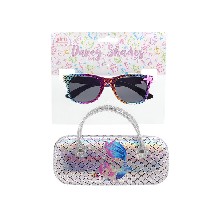 Tween Dazey Shades Multi Color Iridescent Scales Sunglasses + Silver Iridescent Mermaid Scales Case Set