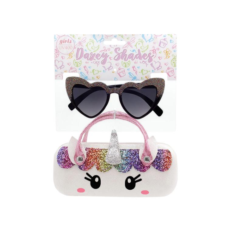 Tween Dazey Shades Glitter Heart Shape Sunglasses + Glitter White Unicorn Case Set