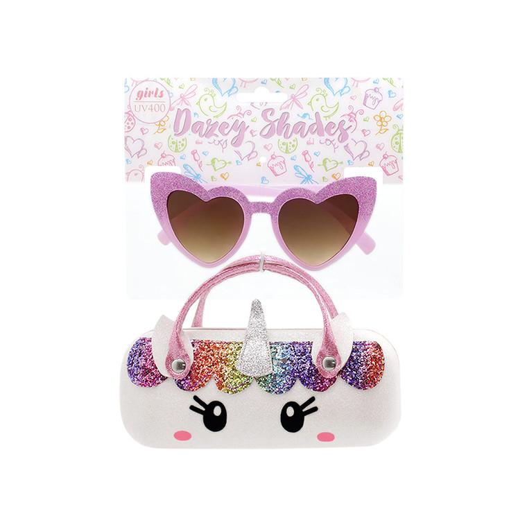 Tween Dazey Shades Purple Glitter Heart Shape Sunglasses + Glitter White Unicorn Case Set