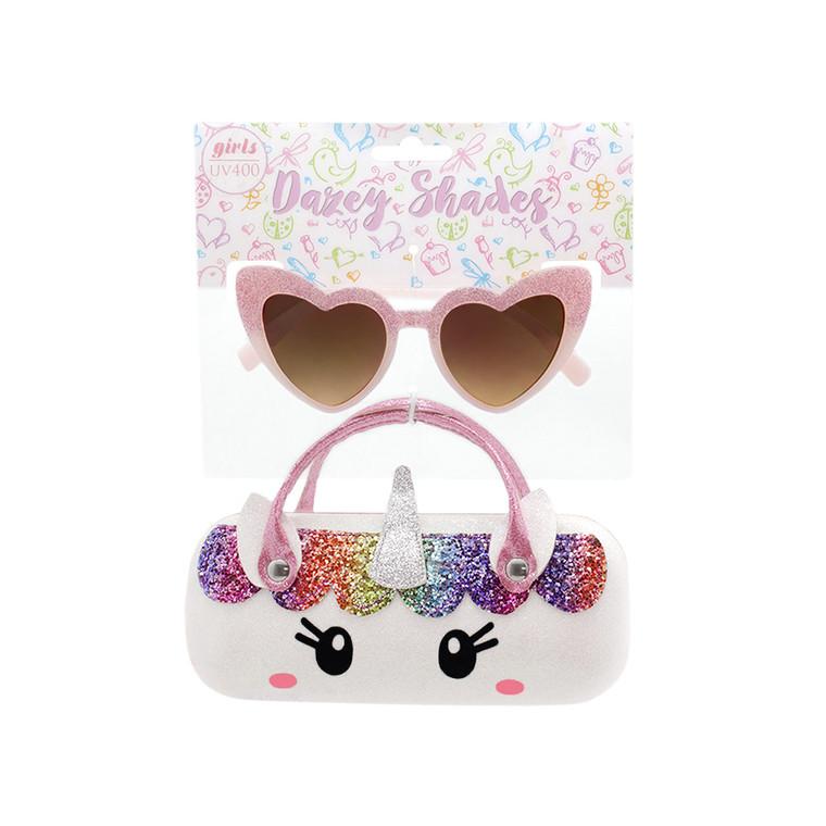 Tween Dazey Shades Pink Glitter Heart Shape Sunglasses + Glitter White Unicorn Case Set