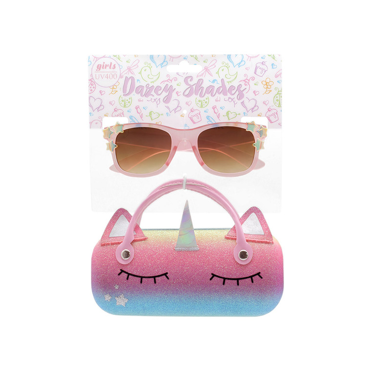 Tween Dazey Shades Matte Peach Sunglasses + Glitter Rainbow Unicorn Case Set