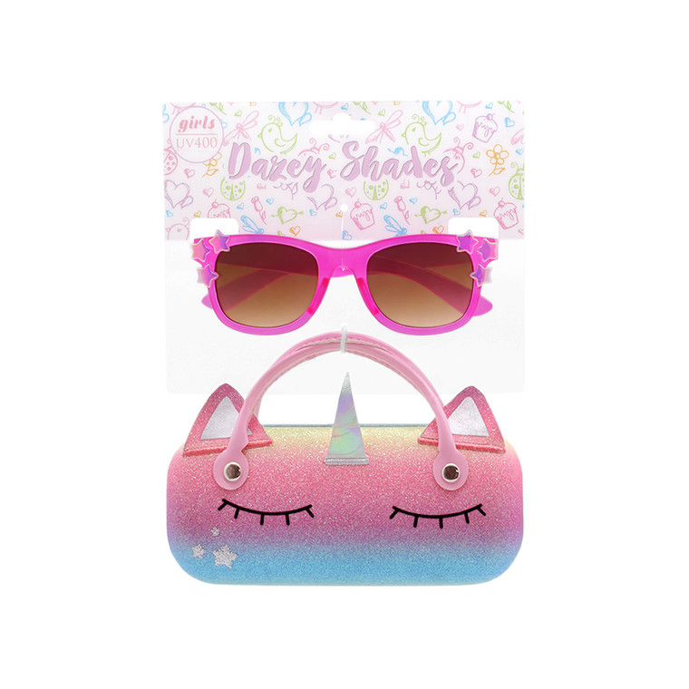 Tween Dazey Shades Matte Dark Pink Sunglasses + Glitter Rainbow Unicorn Case Set