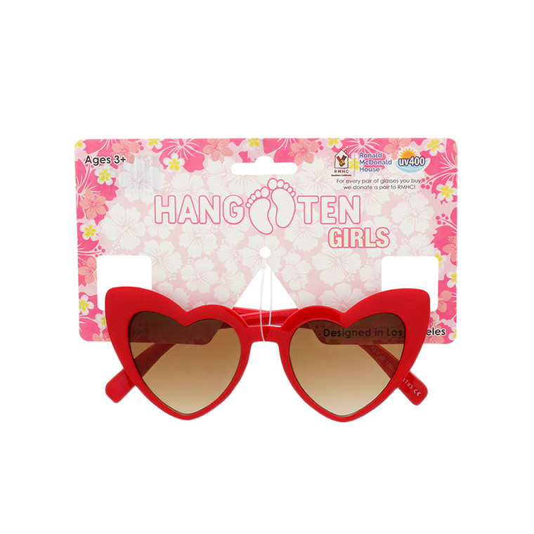 Hang Ten Kids Red Heart Shape Sunglasses with Hang Card