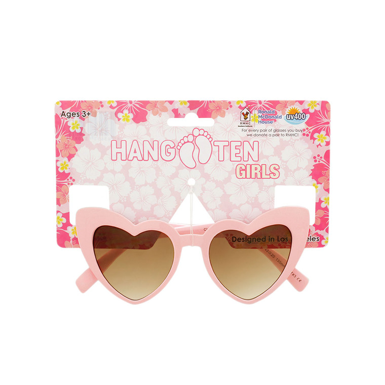 Hang Ten Kids Light Pink Heart Shape Sunglasses with Hang Card