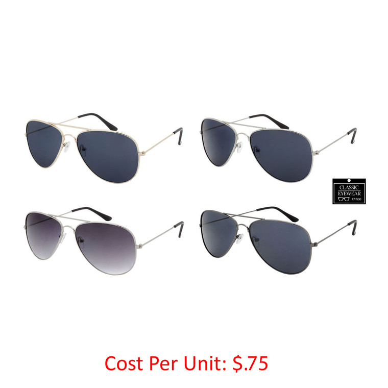 Wholesale Assorted Smoke Color Metal UV400 Aviator Sunglasses Unisex Bulk | 1 Case with Tags | AVBSMK-1