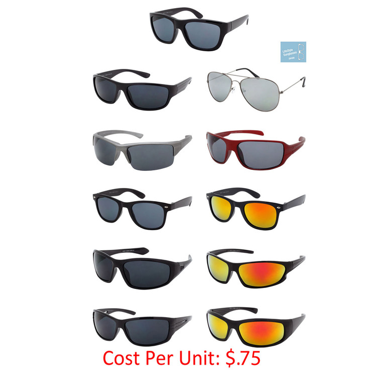 Wholesale Assorted Colors Metal Polycarbonate UV400 Assorted Style Sunglasses Men | 1 Case with Tags | DZN12-1