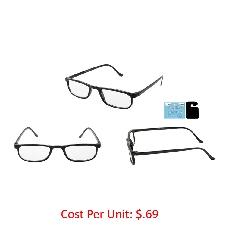 Wholesale Black Acrylic Single Power Square Readers Unisex | 1 Case with Tags | Single Power - 205BS-1