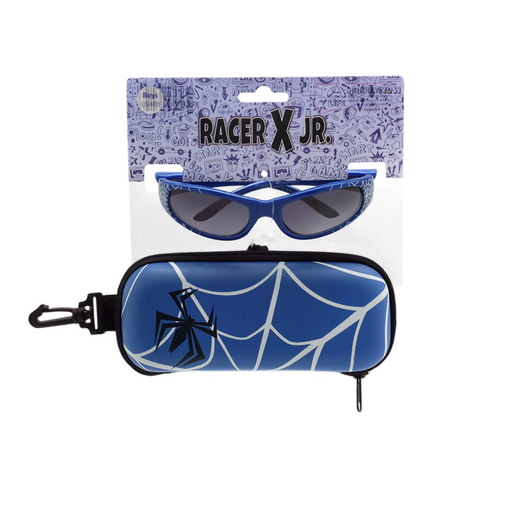 Racer X Jr. Spider Web Blue Sunglasses + Case Set