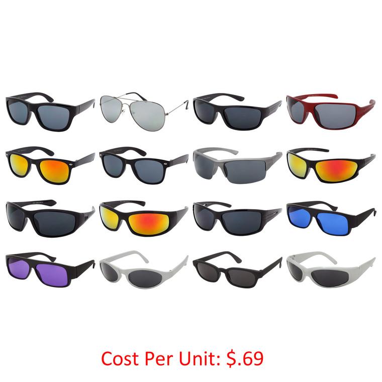 Wholesale Assorted Colors Polycarbonate UV400 Sport Sunglasses Men   SPORTSG36-P65-1