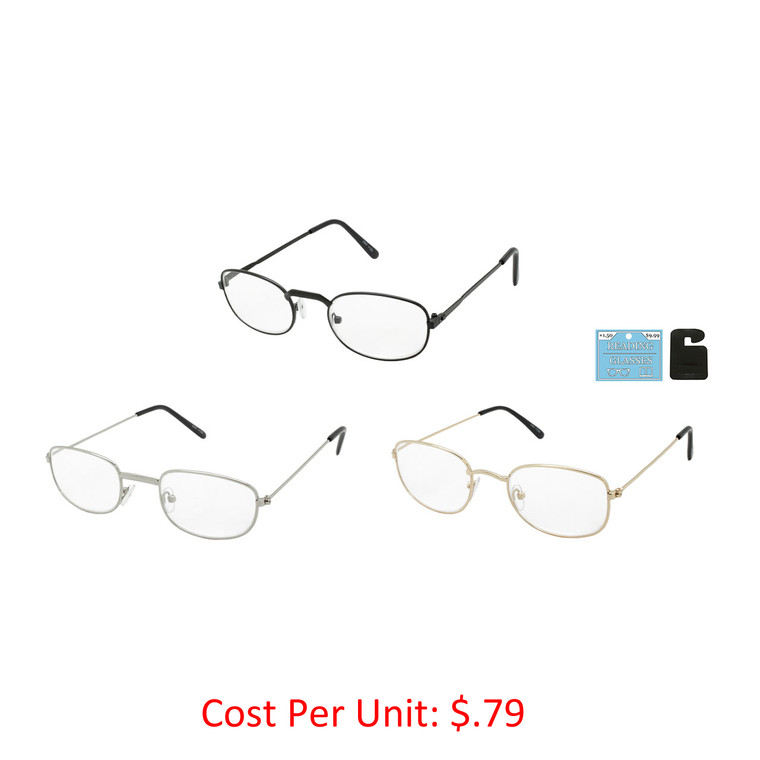 Wholesale Assorted Color Metal Round Readers Unisex | 1 Dozen with Tags | J357-1