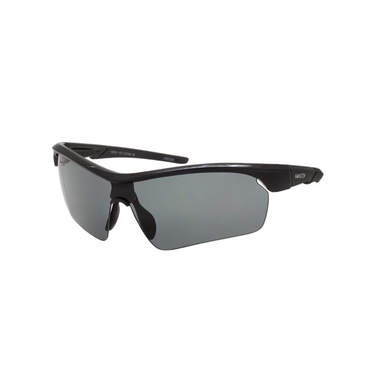 Men's Hang Ten Black Semi-Rimless Sport Sunglasses