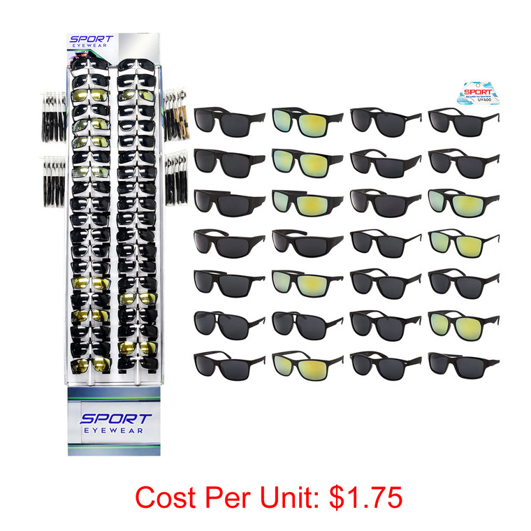 Wholesale Assorted Colors Polycarbonate Sport Sunglasses Cardboard Display 180 Pieces   SPORT40PCFD-1