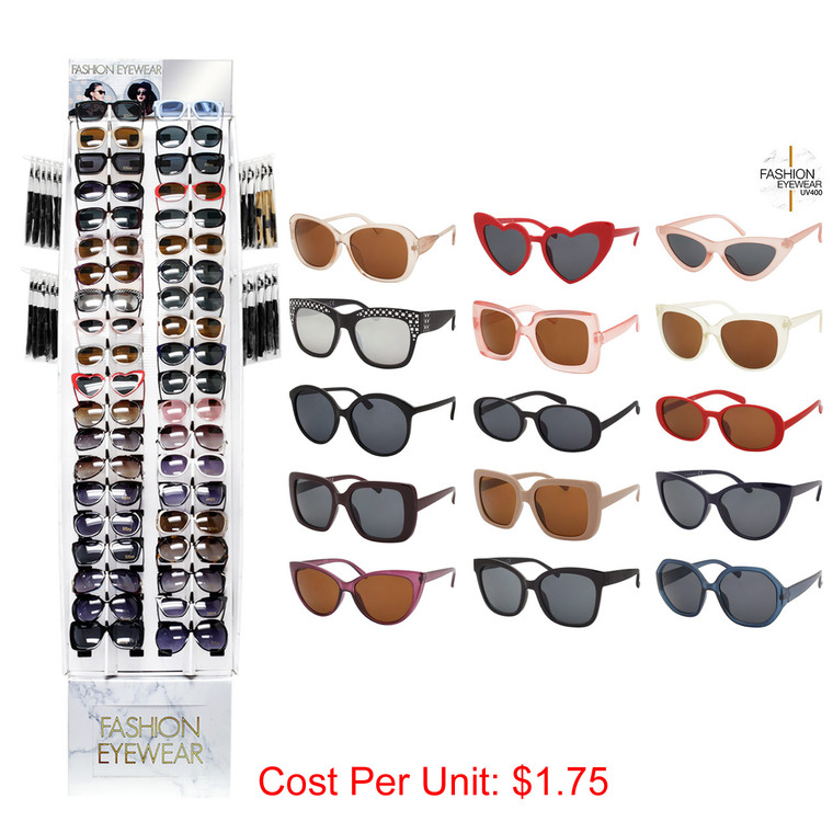Wholesale Assorted Colors Polycarbonate Cat Eye Round Square Fashion Sunglasses Cardboard Display 180 Pieces | FASH40PCFD-1
