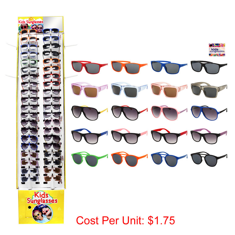 Wholesale Assorted Colors Polycarbonate Kids Sunglasses Cardboard Display 180 Pieces | KIDS40PCFD-1