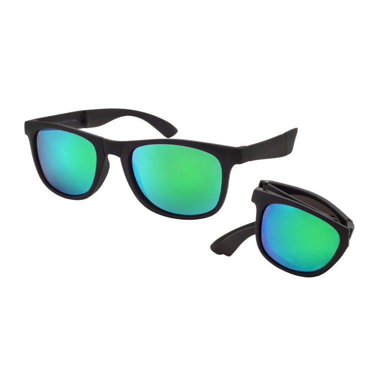 Wholesale Black Polycarbonate UV400 Classic Folding Sunglasses Unisex | 1 Dozen with Tags | V1704